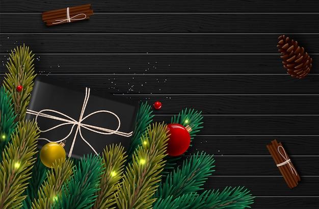 Ackground com borda de realista olhando ramos de árvore de natal e temporada desejos.