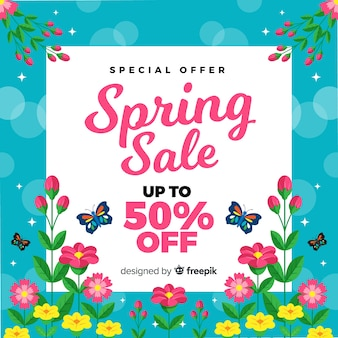 Ackground de venda de primavera plana