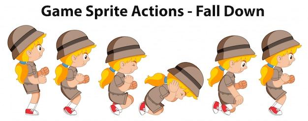Ações de sprite jogo cair garota