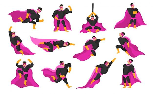 Ações de super-herói e emoções definido