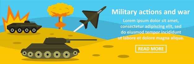 Ações militares e conceito horizontal de banner de guerra