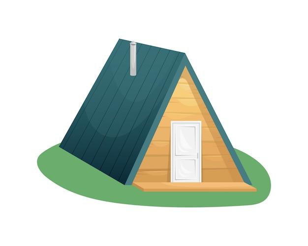 Acolhedora casa campestre triangular de madeira com varanda. habitação suburbana. casa privada. fazenda. agricultura, lavoura.