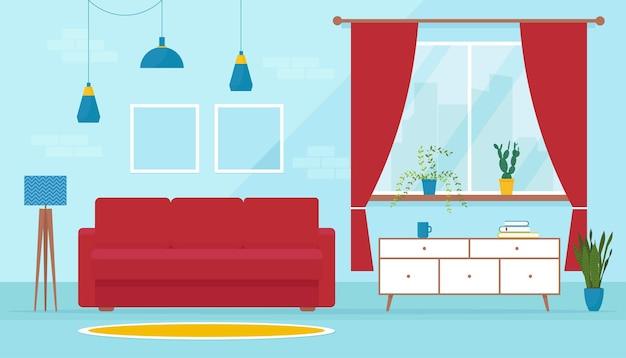 Acolhedora sala de estar moderna em estilo plano. sofá macio no interior. projeto de sala com sofá, suporte para tv, janela e acessórios de decoração.