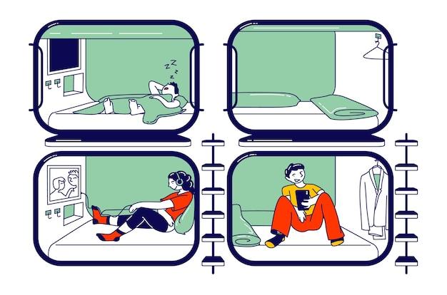 Acomodação para viajantes durante a noite no hotel cápsula