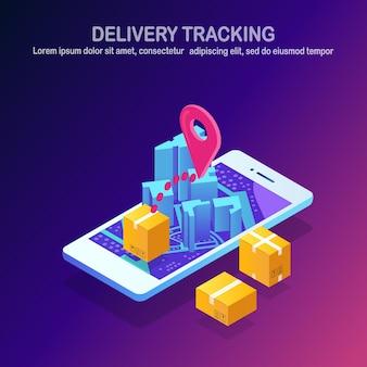 Acompanhamento de entrega online por aplicativo de telefone celular