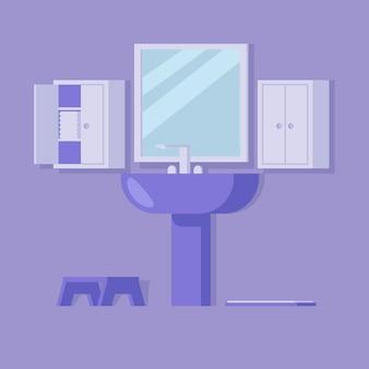 Aconchegante banheiro com espelho grande e lavatório