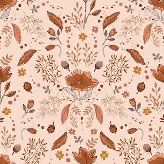Aconchegante clima de outono de ilustração vetorial de padrão floral sem costura eps10 com ramos de folhas de bagas