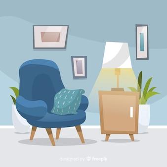 Aconchegante e moderna sala de estar com design plano