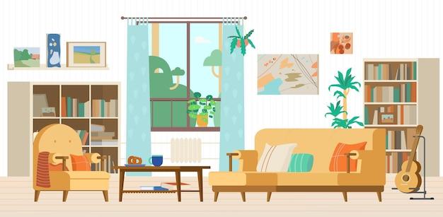 Aconchegante sala de estar com sofá interno estantes poltrona janela guitarra em uma mesinha de centro