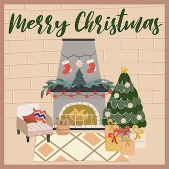 Aconchegante sala de estar de natal com lareira árvore de natal e cartão postal com poltrona em estilo escandinavo