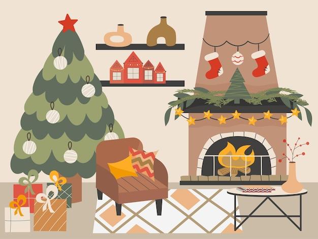 Aconchegante sala de estar de natal com lareira árvore de natal e poltrona de estilo escandinavo no ano novo