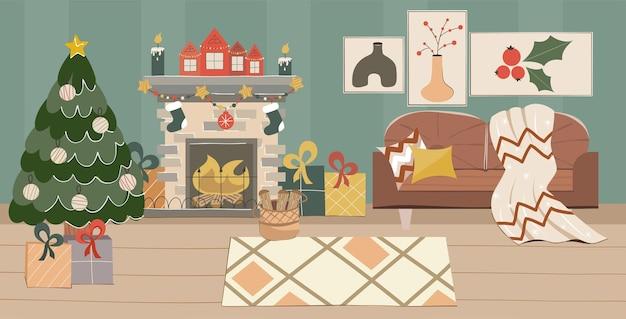 Aconchegante sala de estar de natal com lareira árvore de natal e sofá em estilo escandinavo no ano novo