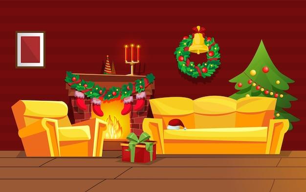 Aconchegante sala de estar vermelha retrô decorada com natal. lobby com móveis confortáveis, decoração tradicional de natal