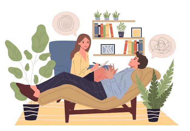 Aconselhamento ao paciente com ilustração de psicólogo
