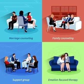 Aconselhamento de relacionamento 4 ícones planos quare