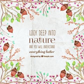 Aconselhar sábia sobre a natureza com bolotas e plantas aquarela