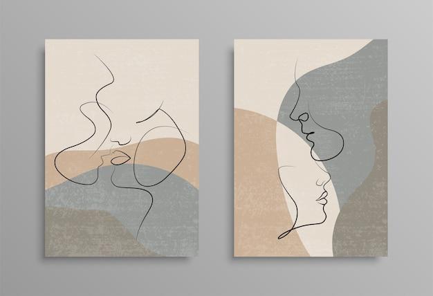 Acople um desenho de linha. capa design de cartaz. love print. casal beijando desenho de linha. estoque .