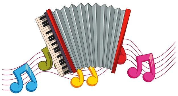 Acordeão clássico com notas musicais de fundo
