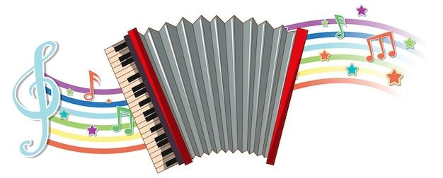Acordeão com símbolos de melodia na onda do arco-íris