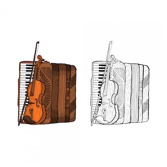 Acordeão e violino desenhado à mão