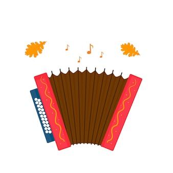 Acordeão isolado no fundo branco. ícone do instrumento musical oktoberfest.