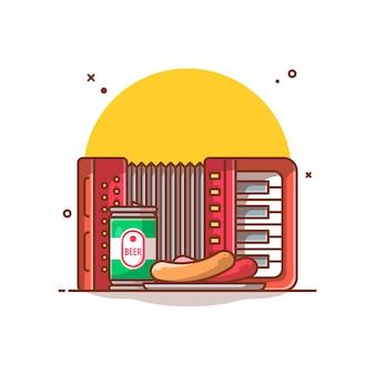 Acordeão, latas de cerveja, ilustração de salsicha