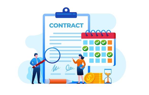 Acordo de contrato com o cliente. modelo de ilustração vetorial plana de linha do tempo