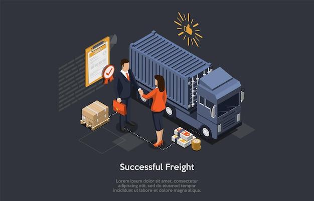 Acordo de logística de sucesso isométrico