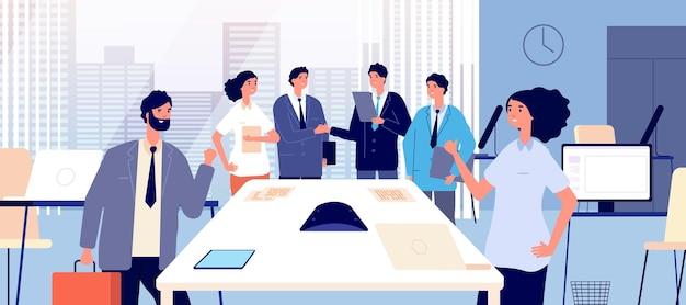 Acordo de negócios. executivos, apertando as mãos. respeite a parceria e o relacionamento. ilustração em vetor escritório corporativo. aperto de mão e acordo de negócios, empresário profissional em equipe