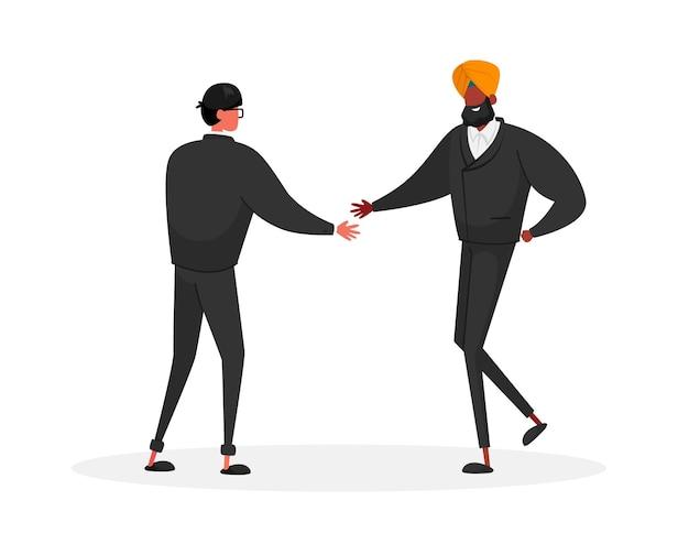 Acordo de parceiros de negócios. parceria de personagens asiáticos e indianos, conceito de negócio