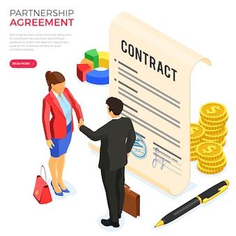 Acordo de parceria com homem e mulher de negócios de aperto de mão