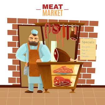 Açougueiro, caricatura, ilustração
