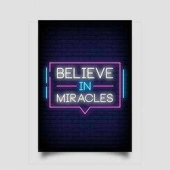 Acreditar em milagres para cartaz em estilo neon. sinais de néon de inspiração moderna citação