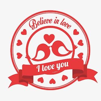 Acreditar no amor emblema eu amo você pássaros beijado coração
