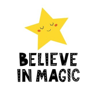 Acredite na magia escrita à mão letras ilustração vetorial impressão de bebê