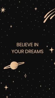 Acredite nos seus sonhos citação inspiradora modelo de banner social fofa galáxia dourada