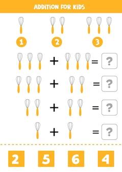 Acréscimo com batedor de cozinha. jogo educativo de matemática para crianças.