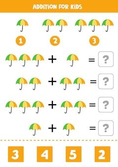 Acréscimo com guarda-chuva colorido. jogo educativo de matemática para crianças.