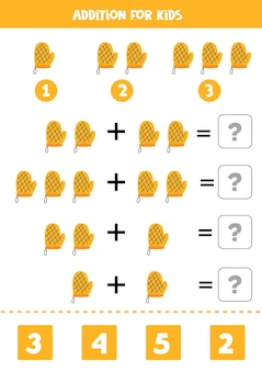 Acréscimo com pegador de cozinha. jogo educativo de matemática para crianças.