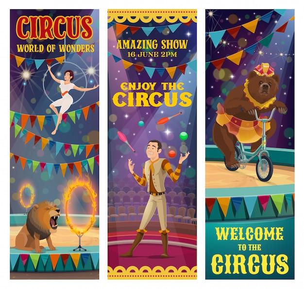 Acrobata de circo, malabarista, urso treinado, animal leão