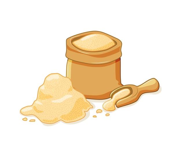 Açúcar de cana em um saco aberto e espalhado em um fundo branco e isolado