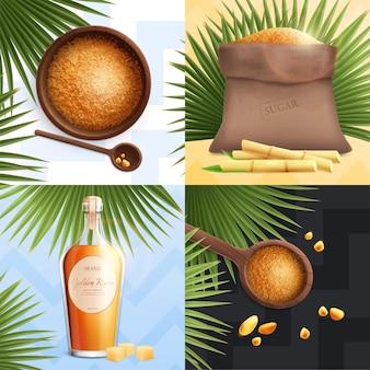 Açúcar de cana realista com colher de rum dourado com açúcar mascavo e saco grande