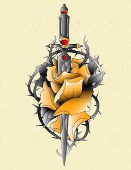 Adaga de rosa amarela à moda antiga