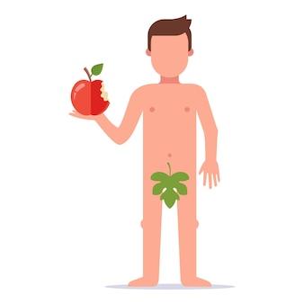 Adão deu uma mordida em uma maçã e cometeu um pecado. história do antigo testamento. ilustração vetorial plana.