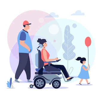 Adaptação social de pessoas com deficiência, apoio a pessoas com deficiência, cadeirante com a família, ilustração do conceito de reabilitação com deficiência