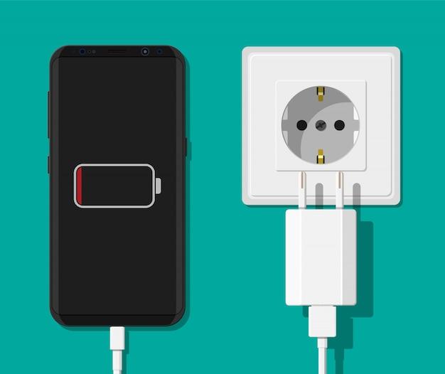 Adaptador para smartphone e carregador.