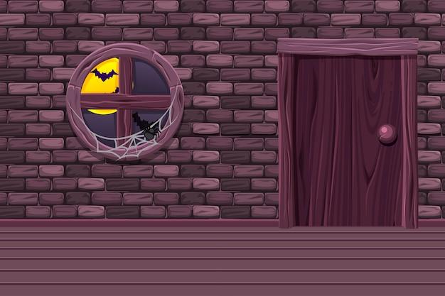 Adega de casa roxa, sala interior de ilustração com janela velha, porta e muro de pedra