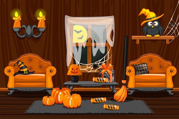 Adega, ilustração interior quarto de madeira com símbolos de halloween e mobílias