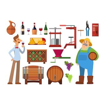 Adega que faz a indústria de bebidas de vidro do vinhedo da adega da colheita do vintage. produção de álcool como o vinho é feito elementos infográfico