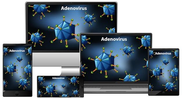 Adenovírus em conjunto de dispositivos eletrônicos na tela